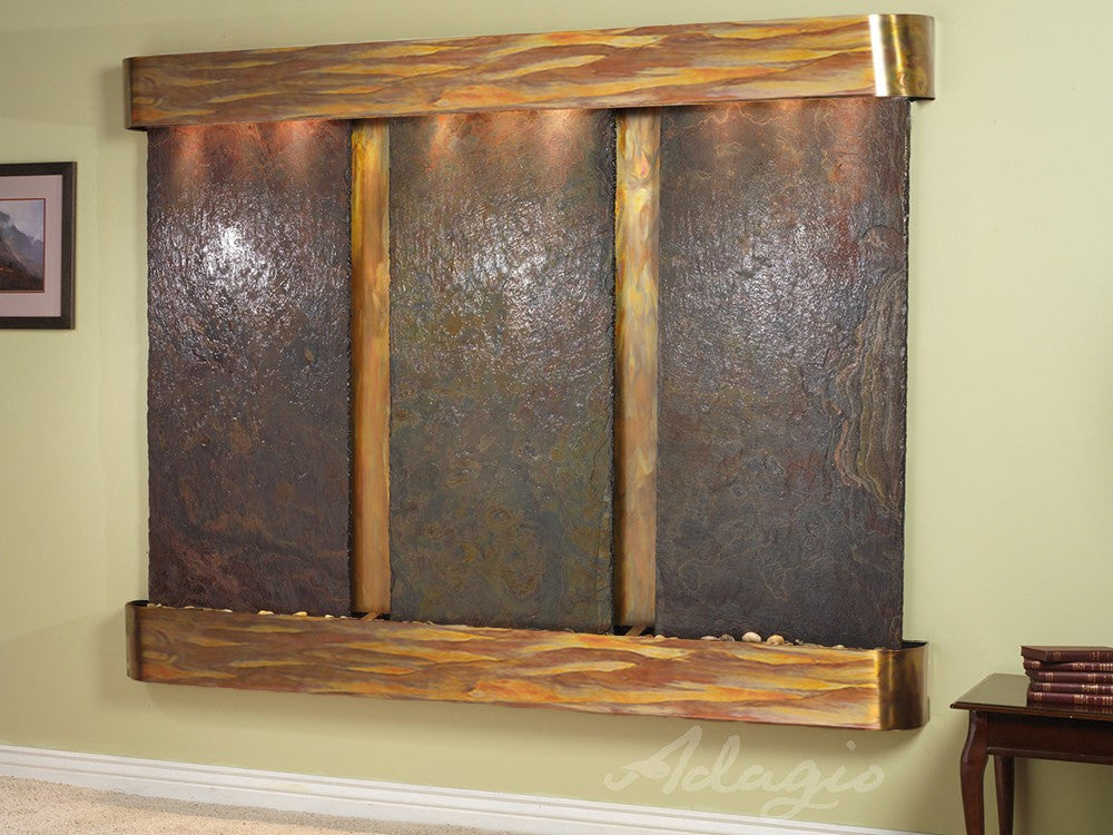 Wall Fountain - Deep Creek - Multi-Color Slate - Rustic Copper - Rounded - dcr1004_1