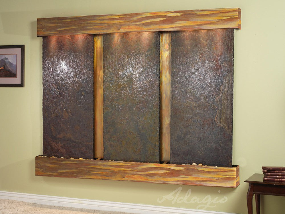 Wall Fountain - Deep Creek - Multi-Color Slate - Rustic Copper - Squared - dcs1004_1