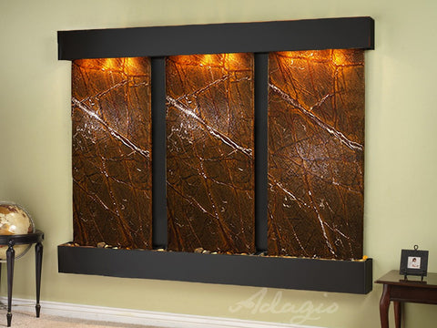 Wall Fountain - Deep Creek - Rainforest Brown Marble - Blackened Copper - Squared - dcs1506_1