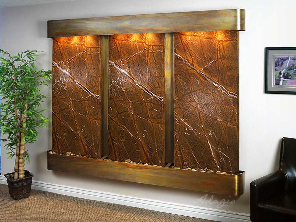 Wall Fountain - Deep Creek - Rainforest Brown Marble - Rustic Copper - Rounded - dcr1006_1