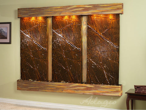 Wall Fountain - Deep Creek - Rainforest Brown Marble - Rustic Copper - Squared - dcs1006_1