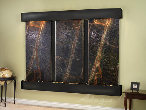 Wall Fountain - Deep Creek - Rainforest Green Marble - Blackened Copper - Squared - DCFS1505