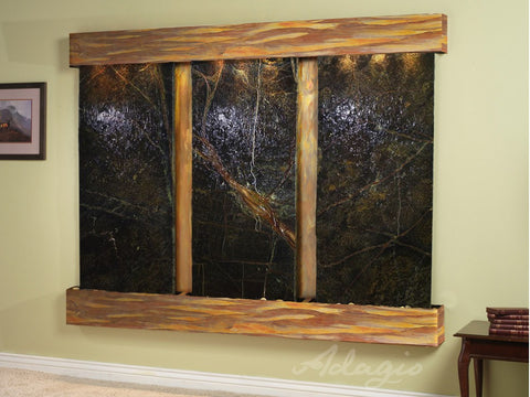 Wall Fountain - Deep Creek - Rainforest Green Marble - Rustic Copper - Squared - dcs1005_1
