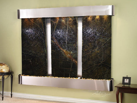 Wall Fountain - Deep Creek - Rainforest Green Marble - Stainless Steel - Rounded - dcr2005_1