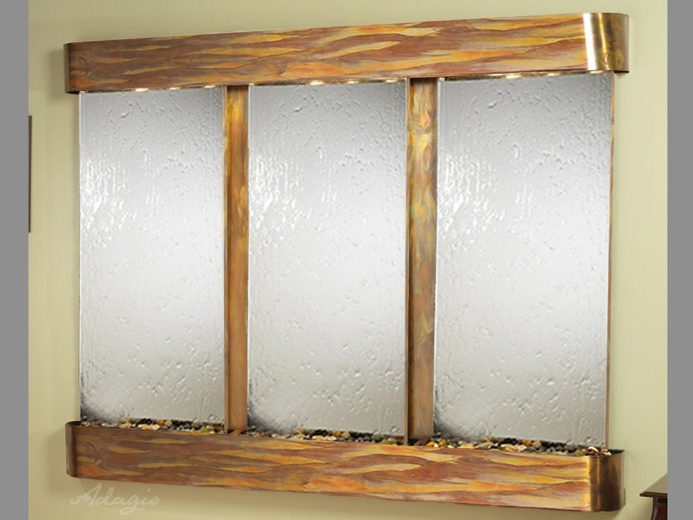 Wall Fountain - Deep Creek - Silver Mirror - Rustic Copper - Rounded - dcr1040_1