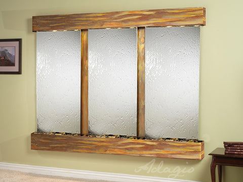 Wall Fountain - Deep Creek - Silver Mirror - Rustic Copper - Squared - dcs1040_1
