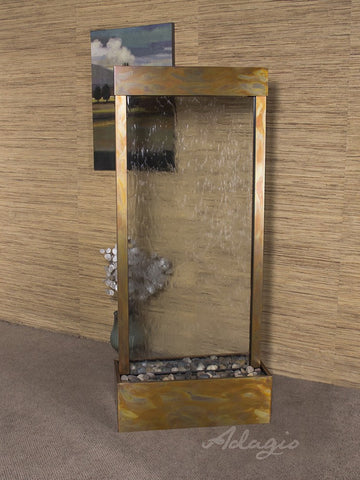 Floor Fountain - Harmony River (Centered In Base) - Clear Glass - Rustic Copper - hrc1050