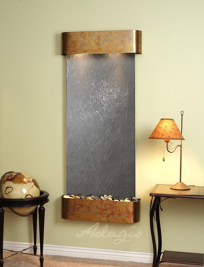 Wall Fountain - Inspiration Falls - Black FeatherStone - Rustic Copper - Rounded - ifr1011__65225