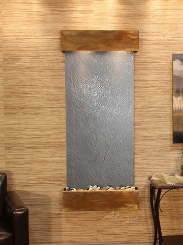 Wall Fountain - Inspiration Falls - Black FeatherStone - Rustic Copper - Squared - ifs1011_1