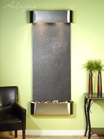 Wall Fountain - Inspiration Falls - Black FeatherStone - Stainless Steel - Rounded - ifr2011__36962