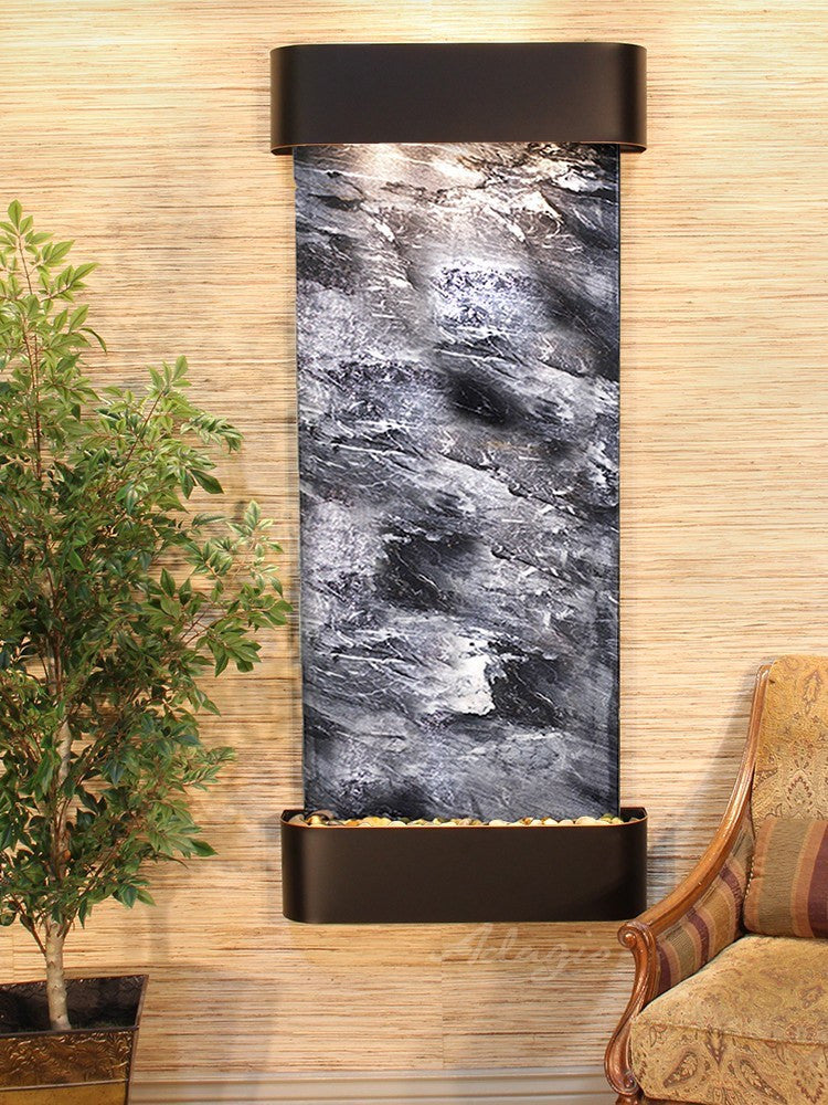 Wall Fountain - Inspiration Falls - Black Spider Marble - Blackened Copper - Rounded - ifr1507_1