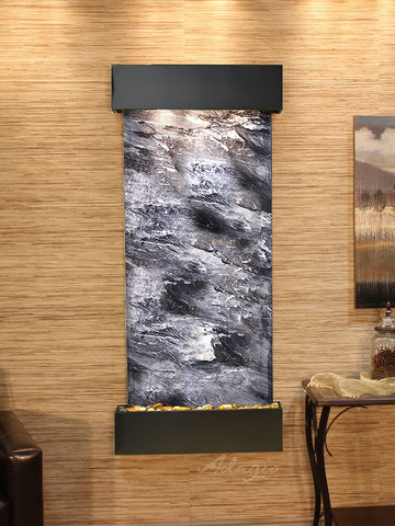 Wall Fountain - Inspiration Falls - Black Spider Marble - Blackened Copper - Squared - ifs1507_1