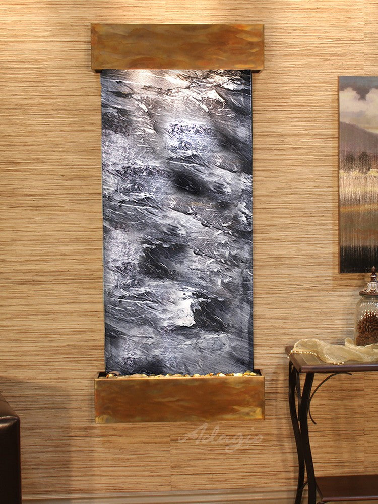 Wall Fountain - Inspiration Falls - Black Spider Marble - Rustic Copper - Squared - ifs1007_1