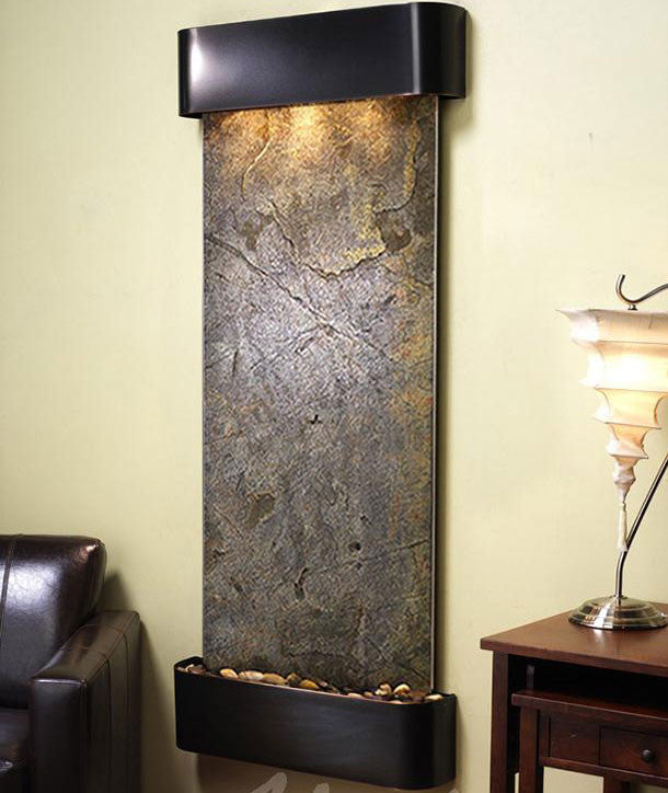 Wall Fountain - Inspiration Falls - Green FeatherStone - Blackened Copper - Rounded - ifr1512__36950
