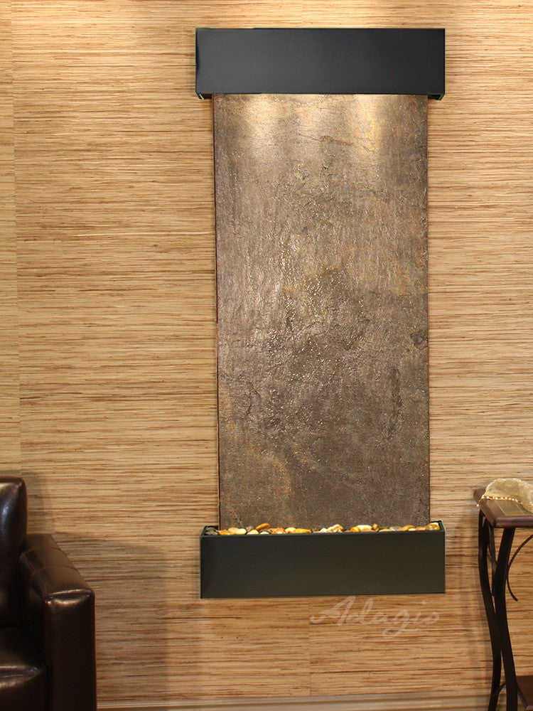 Wall Fountain - Inspiration Falls - Green FeatherStone - Blackened Copper - Squared - ifs1512_1