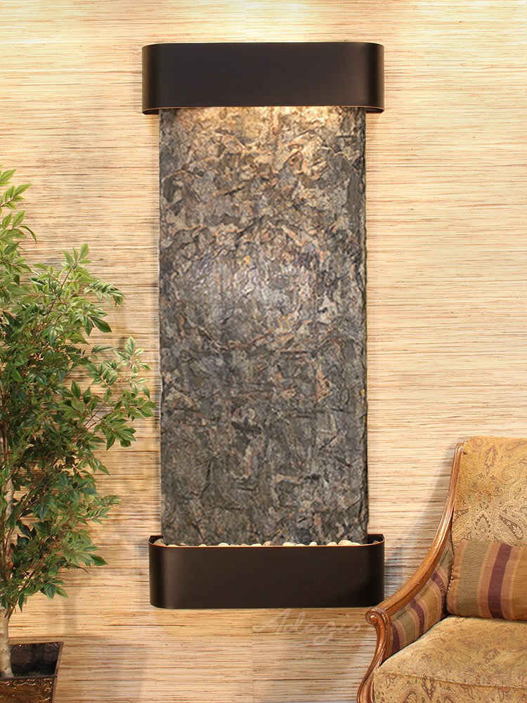 Wall Fountain - Inspiration Falls - Green Slate - Blackened Copper - Rounded - ifr1502_1