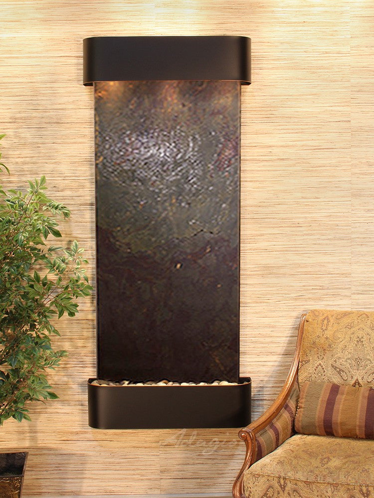 Wall Fountain - Inspiration Falls - Multi-Color FeatherStone - Blackened Copper - Rounded - ifr1514_1