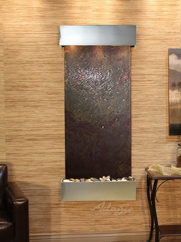 Wall Fountain - Inspiration Falls - Multi-Color FeatherStone - Stainless Steel - Squared - ifs2014_1