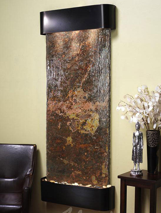 Wall Fountain - Inspiration Falls - Multi-Color Slate - Blackened Copper - Rounded - ifr1504__81703