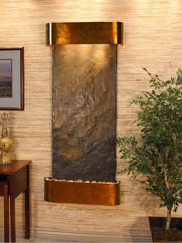 Wall Fountain - Inspiration Falls - Multi-Color Slate - Rustic Copper - Rounded - ifr1004_1