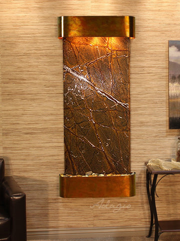 Wall Fountain - Inspiration Falls - Rainforest Brown Marble - Rustic Copper - Rounded - ifr1006_1