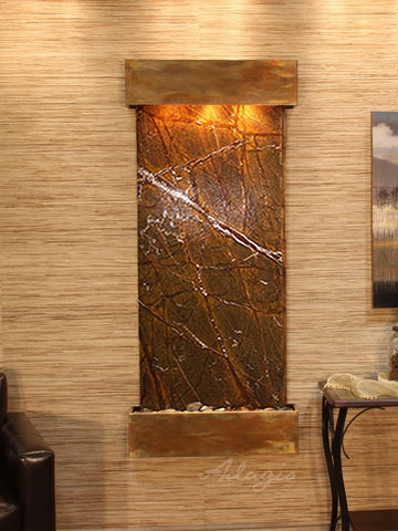 Wall Fountain - Inspiration Falls - Rainforest Brown Marble - Rustic Copper - Squared - ifs1006_1