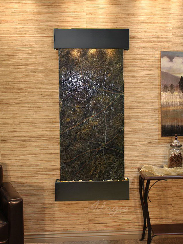 Wall Fountain - Inspiration Falls - Rainforest Green Marble - Blackened Copper - Squared - ifs1505