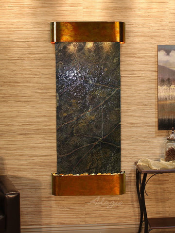 Wall Fountain - Inspiration Falls - Rainforest Green Marble - Rustic Copper - Rounded - ifr1005_1