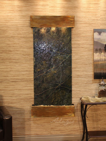 Wall Fountain - Inspiration Falls - Rainforest Green Marble - Rustic Copper - Squared - ifs1005_1