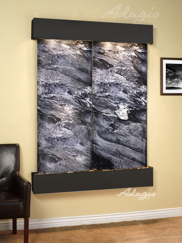 Wall Fountain - Majestic River - Black Spider Marble - Blackened Copper - Squared - mrs15072