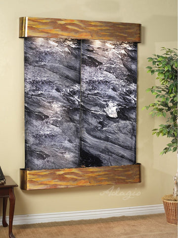Wall Fountain - Majestic River - Black Spider Marble - Rustic Copper - Rounded - mrr1007