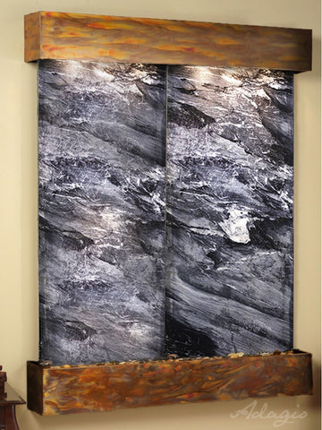 Wall Fountain - Majestic River - Black Spider Marble - Rustic Copper - Squared - MRS1007