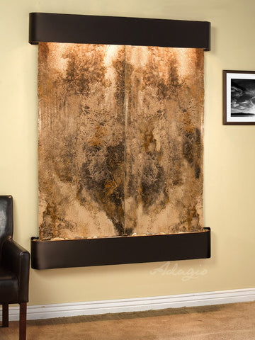 Wall Fountain - Majestic River - Magnifico Travertine - Blackened Copper - Rounded - mrr1508