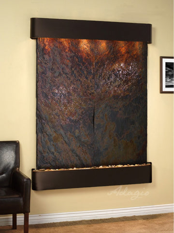 Wall Fountain - Majestic River - Multi-Color Slate - Blackened Copper - Rounded - mrr1504