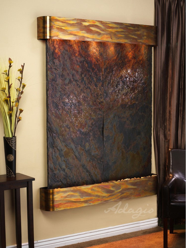 Wall Fountain - Majestic River - Multi-Color Slate - Rustic Copper - Rounded - mrr1004