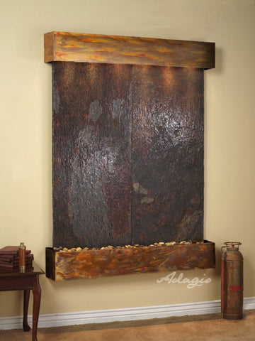 Wall Fountain - Majestic River - Multi-Color Slate - Rustic Copper - Squared - mrs10042