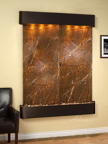 Wall Fountain - Majestic River - Rainforest Brown Marble - Blackened Copper - Rounded - mrr1506