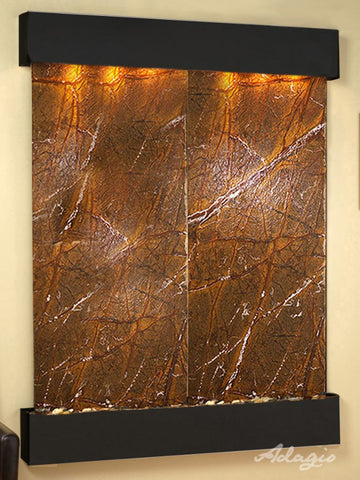 Wall Fountain - Majestic River - Rainforest Brown Marble - Blackened Copper - Squared - mrs15063