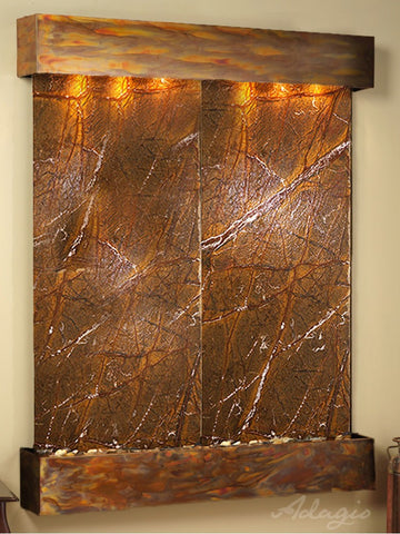 Wall Fountain - Majestic River - Rainforest Brown Marble - Rustic Copper - Squared - MRS1006