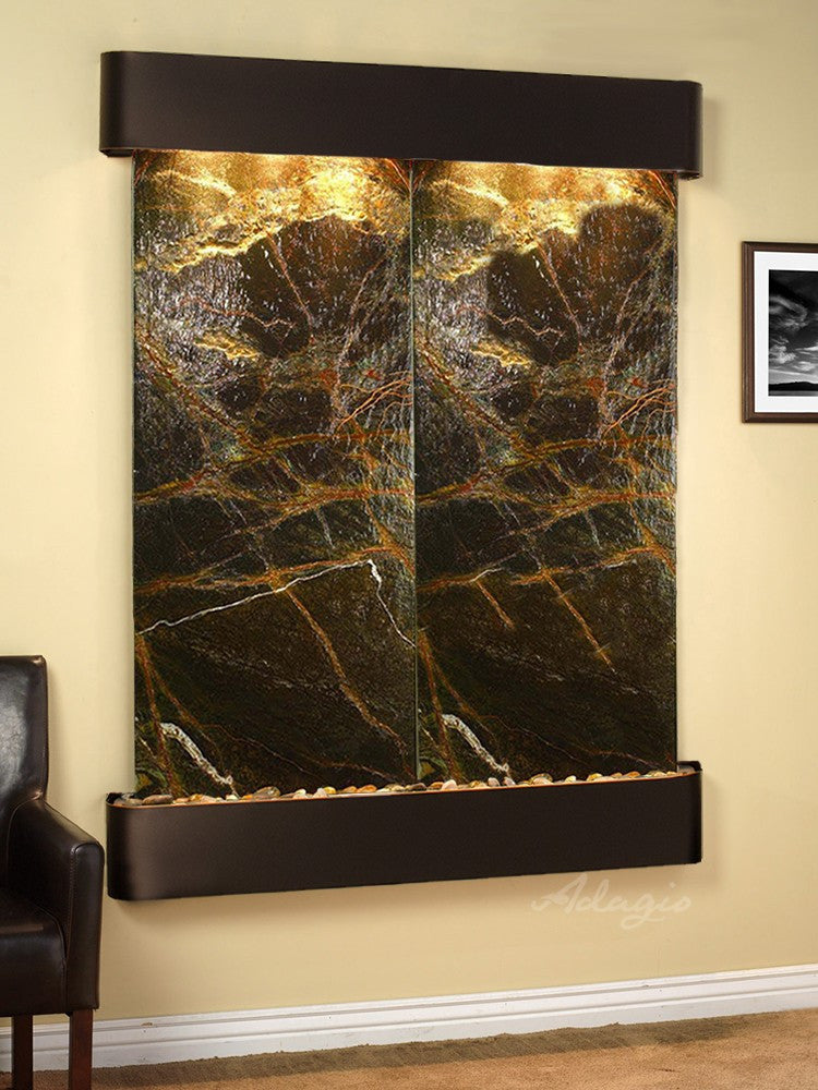 Wall Fountain - Majestic River - Rainforest Green Marble - Blackened Copper - Rounded - mrr1505