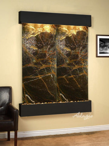 Wall Fountain - Majestic River - Rainforest Green Marble - Blackened Copper - Rounded - mrs15052