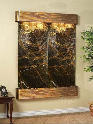 Wall Fountain - Majestic River - Rainforest Green Marble - Rustic Copper - Rounded - mrr1005