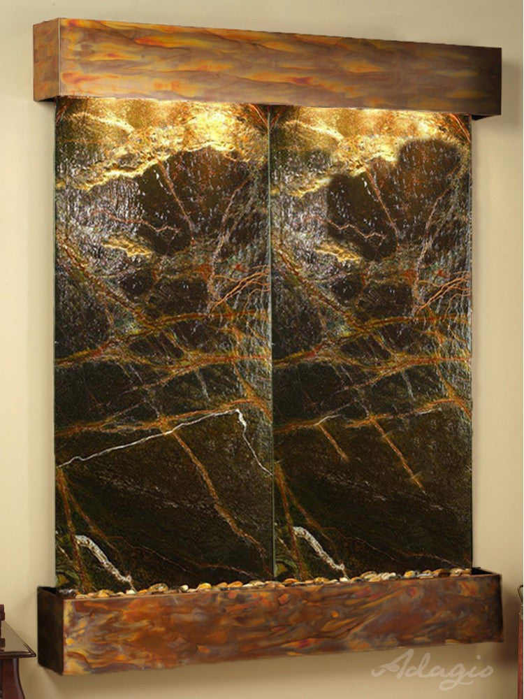 Wall Fountain - Majestic River - Rainforest Green Marble - Rustic Copper - Squared - MRS1005