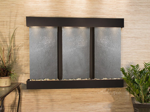 Wall Fountain - Olympus Falls - Black FeatherStone - Blackened Copper - Squared - ofs1511