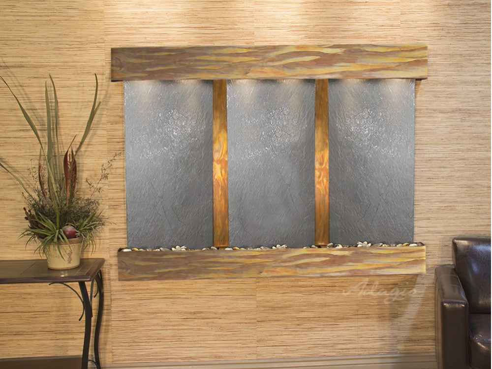 Wall Fountain - Olympus Falls - Black FeatherStone - Rustic Copper - Squared - ofs1011