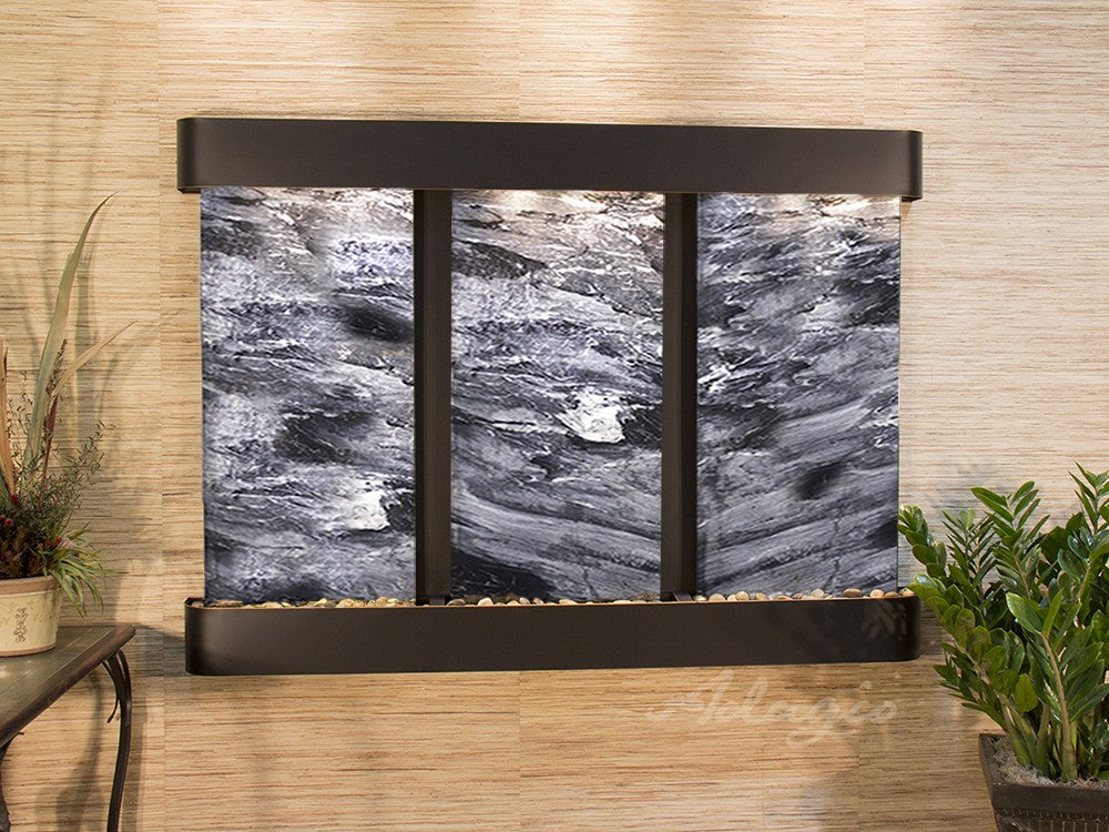Wall Fountain - Olympus Falls - Black Spider Marble - Blackened Copper - Rounded - ofr1507
