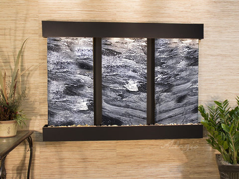 Wall Fountain - Olympus Falls - Black Spider Marble - Blackened Copper - Squared - ofs1507_1