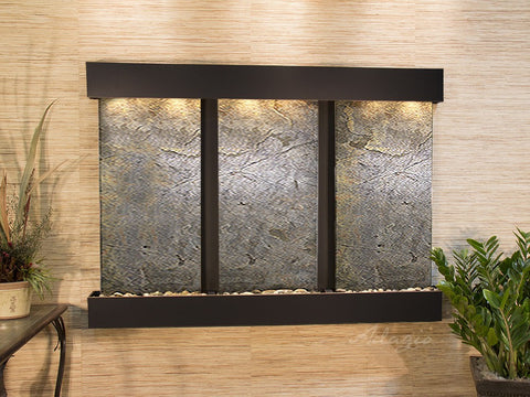 Wall Fountain - Olympus Falls - Green FeatherStone - Blackened Copper - Squared - ofs1512