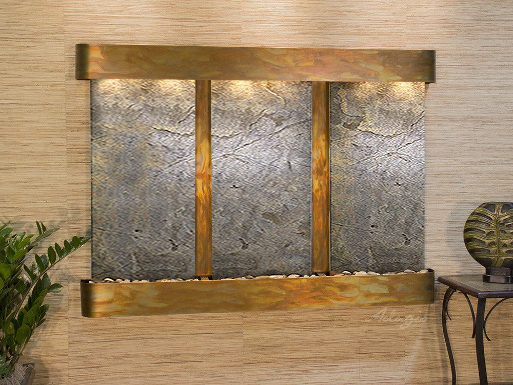 Wall Fountain - Olympus Falls - Green FeatherStone - Rustic Copper - Rounded - ofr1012
