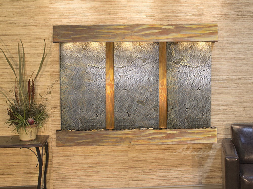Wall Fountain - Olympus Falls - Green FeatherStone - Rustic Copper - Squared - ofs1012